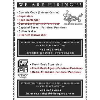 F&B & Hospitality Positions for Singaporeans/PRs (New Shops)