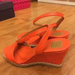 NEW! TB poppy red marion wedges size 7, cuma 1.95jt