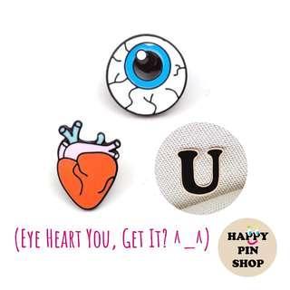 [AVAIL] Eye Heart U enamel pins - Funny pins, Anatomy, Valentines, Anniversary