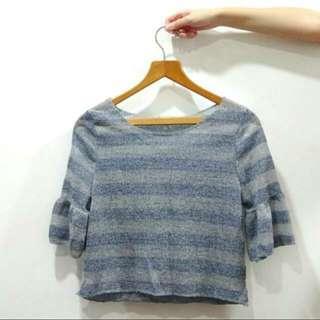 🚚 BN Blue & Grey Stripes Translucent Blouse