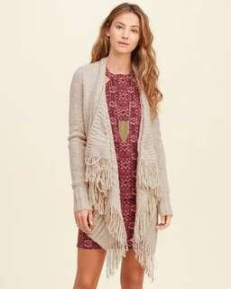Hollister流蘇提花針織外套開衫冷衫毛衣披肩HCO blanket women's jacket sweater cardigan kimono A&F Abercrombie & Fitch AF AEO