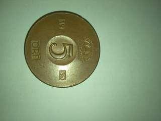 Sweden 5 Ore Bronze coin 1969