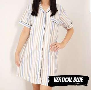 Vertical blue pajamas