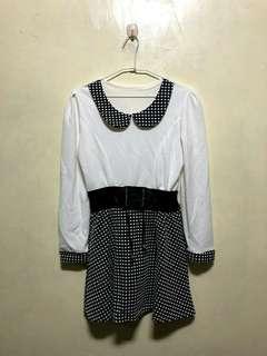 🚚 腰帶拼接假兩件式洋裝