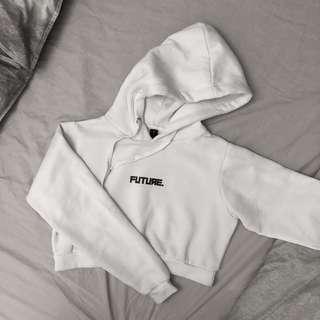Factorie White Cropped Fleece Future Hoodie