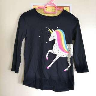 🚚 2T long sleeved navy blouse with unicorn print