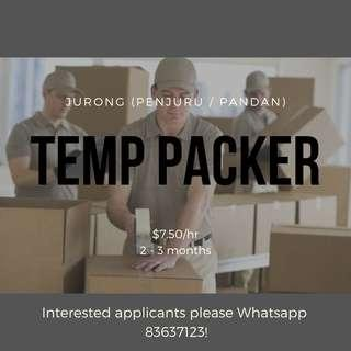 TEMP PACKERS FOR LOGISTICS ITEMS @ JURONG (WEST)
