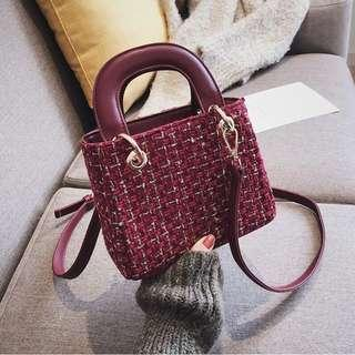 Woollen Leather Hand/Sling Bag