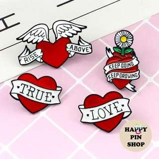 [AVAIL] Heart Banner Quotes Enamel Pins - Love, Valentines, Inspirational