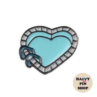 [AVAIL] Heart Shape Swimming Pool Enamel Pin