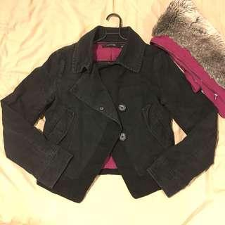 🚚 Bauhaus購入毛毛騎士領可拆,超帥氣修身黑外套(夾克)