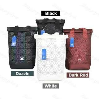 Instock Adidas 3D Mesh Roll Up Backpack x Issey Miyake [Black/Dazzle/Nude Pink/Maroon Red/Navy Blue/White/Sliver]
