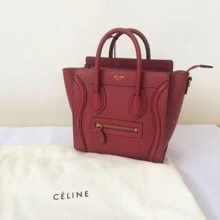 READY SALE Celine Nano Luggage • Red Grained