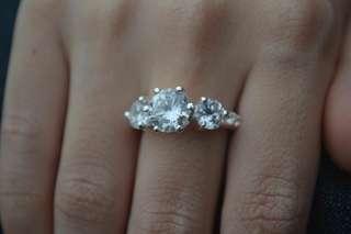 3diamond Cincin Tunang Nikah Risik Silver 925