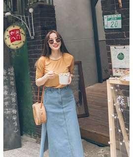 🚚 Mercci22直條紋涼感5分袖上衣(黃)