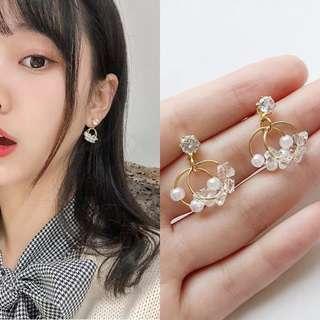 🚚 韓版幾何雙層圓圈珍珠鋯石耳環/可改耳夾