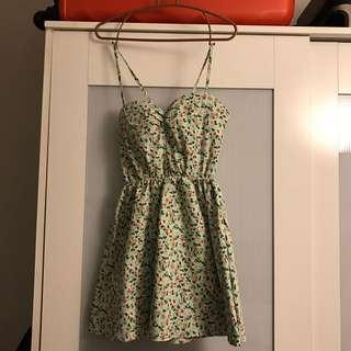 Floral mint green summer dress