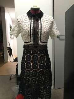 ♦️Self portrait immitation white and black crochet collared dress