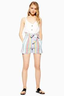 Topshop multi stripe short