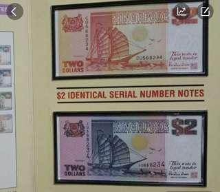 $2 Ship Identical Serial Number Note