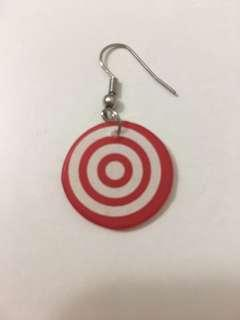 Red round earring