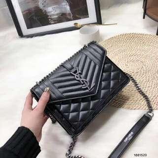 YSL Envelope Medium Bag in glazed leather