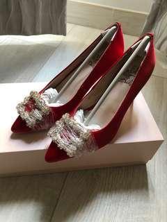 Gracegift diamond heels in red 紅色閃石高踭鞋 婚禮婚鞋 出門婚鞋 紅色婚鞋 wedding shoes