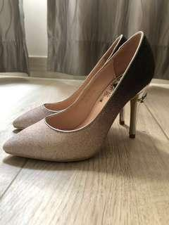 Gracegift gradient sparkling heels 漸變閃高踭鞋 銀色婚鞋 wedding shoes