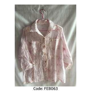 Kemeja Pink Floral Lengan Panjang Semi Transparan Cocok dijadikan Outer