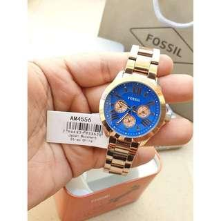 Fossil Cecile Multi-Function Blue Dial Rose Gold-tone Steel AM4556