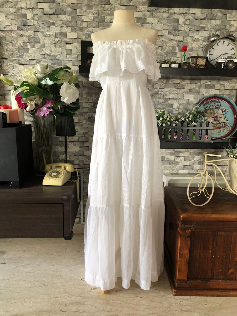 1970s Vintage White Mexican Wedding Dress Womens Fashion Clothes