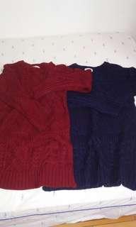 紅藍雙色粗針織毛衣