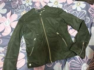 NET軍綠騎士外套 麂皮