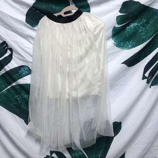 🚚 白色 蕾絲紗裙 長裙