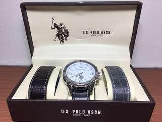 🚚 U.S. POLO ASSN. 皮錶 換錶帶 大錶徑 石英錶