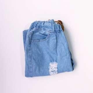 Ripped Blue Denim Jeans • Free size