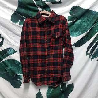 🚚 紅色格子 襯衫