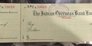 🚚 Vintage Dai Nippon Japanese Occupation Indian Overseas Bank Penang Cheque