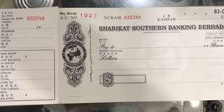 🚚 Vintage Sharikat Southern Bank Kampar Cheque