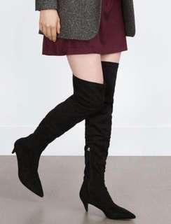 Suede over the knees boots, size 38