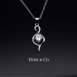 15d4e4ccbc4 Crystal Musical Note 925 Sterling Silver White Gold plated Pendant Necklace