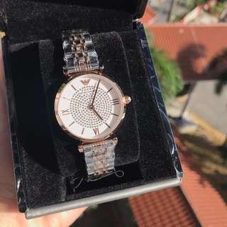 🚚 Emporio Armani Women's white crystal pave dial ladies watch / Ar1926