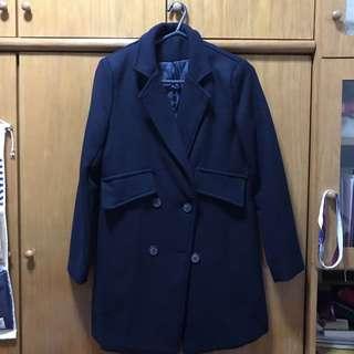 navy coat 深藍夾綿大褸