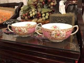 2 tudor rose salisbury bone china soup bowls