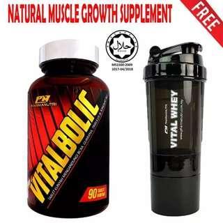 Vitalbolic Muscle Growth Booster by Pharmanutri, 90 Tablets, 45 Servings (Orange) + 3-in-1 Pharmanutri Vital Whey Protein Shaker/Blender/Mixer 17oz/500ml (Black) vs TANABOL X ( 90 TABLETS ) SUPERIOR 14 Muscle Otot Testosterone Booster StanabolX