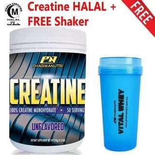 Creatine HALAL – Pharmanutri 100% Creatine 250g, 50 Servings (Unflavored) + FREE Shaker