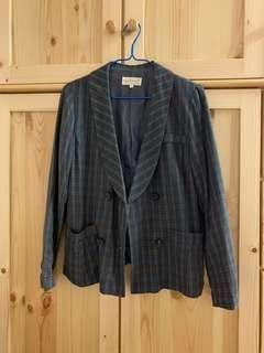韓製型格暗色格仔西裝外套