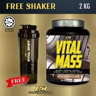 Mass Gainer Halal – Vital Mass 2kg/4.41lbs, 0g Sugar, with Whey Isolate & Tribulus – Fast Weight and Lean Muscle Gainer (Rich Chocolate) + FREE 3-in-1 Pharmanutri Shaker17oz/500ml (Black) vs Optimum Nutrition On Serious Mass