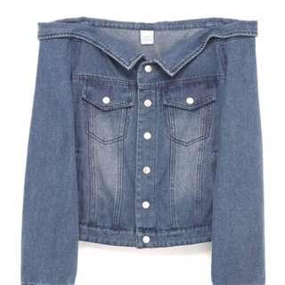 IORA Off Shoulder Denim Jacket