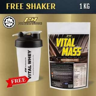Mass Gainer Halal – Vital Mass 1kg/2.2lbs, 0g Sugar, with Whey Isolate & Tribulus – Fast Weight and Lean Muscle Gainer (Rich Chocolate) + FREE Official Vital Whey Protein Mini Shaker/Blender/Mixer 500ml